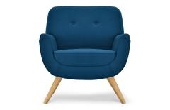 Fauteuil laine feutrée bleu canard