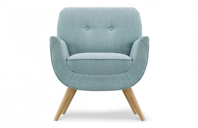 Fauteuil laine feutrée bleu pastel