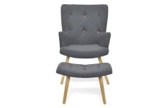 Fauteuil scandinave + repose-pieds anthracite