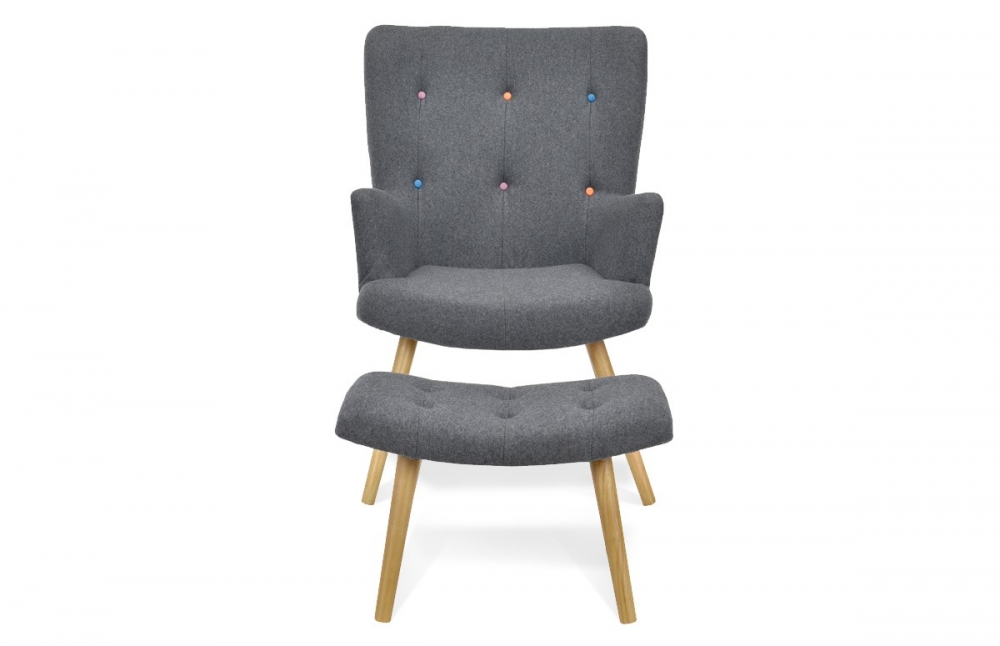 fauteuil scandinave repose pieds anthracite pi ce vivre. Black Bedroom Furniture Sets. Home Design Ideas