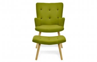 Fauteuil scandinave + repose-pieds vert