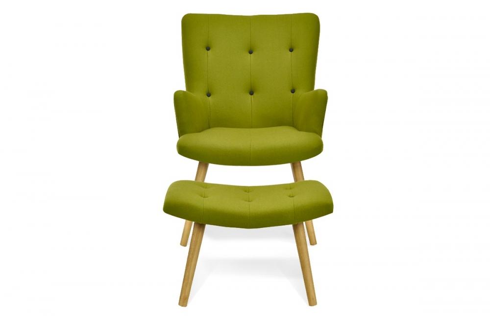 fauteuil scandinave repose pieds vert pi ce vivre. Black Bedroom Furniture Sets. Home Design Ideas