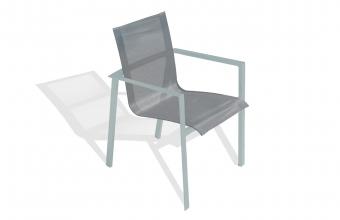 Fauteuil empilable aluminium et textilène gris