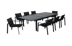 Table de jardin + 6 fauteuils verre