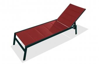 Chaise longue textilène corail