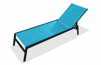 Chaise longue textilène turquoise