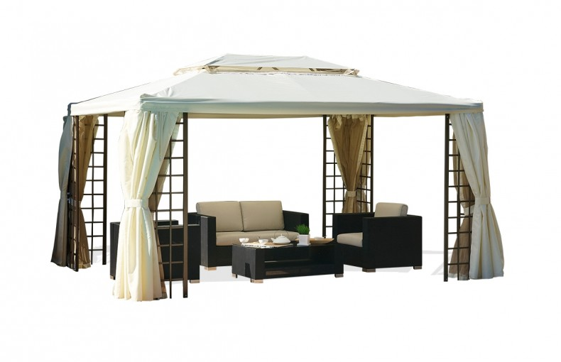 tonnelle 4x3 m avec rideaux moustiquaire pi ce vivre. Black Bedroom Furniture Sets. Home Design Ideas