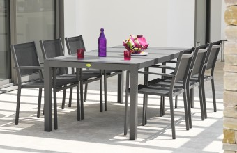 Ensemble table aluminium + 6 fauteuils