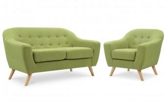 Ensemble canapé 2 places + fauteuil scandinave vert