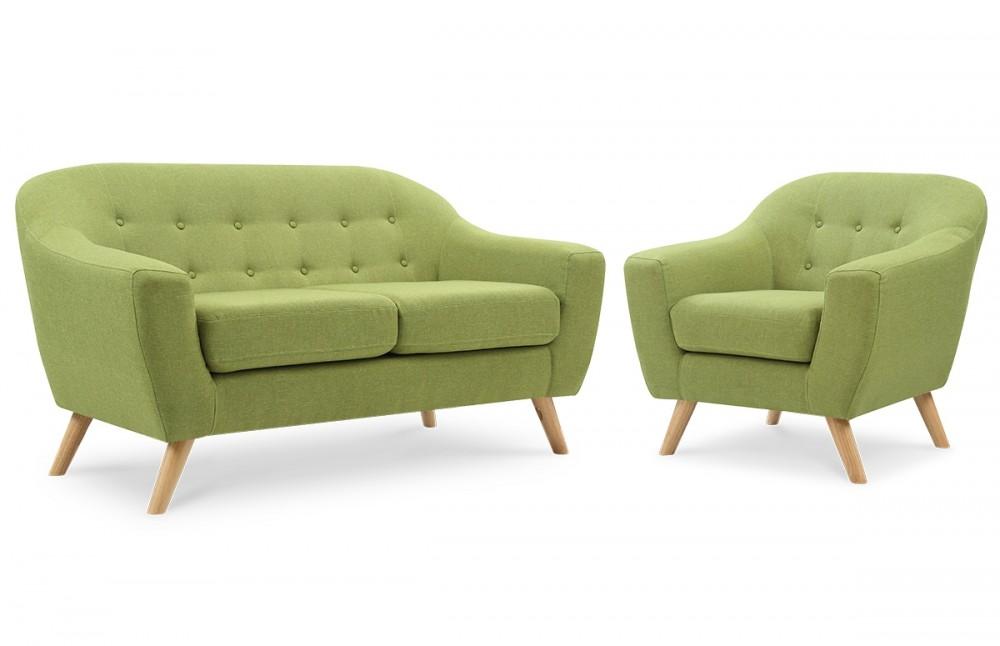 Salon scandinave 2 places fauteuil vert piece a vivre for Canapé 3 places pour ensemble deco chambre bebe