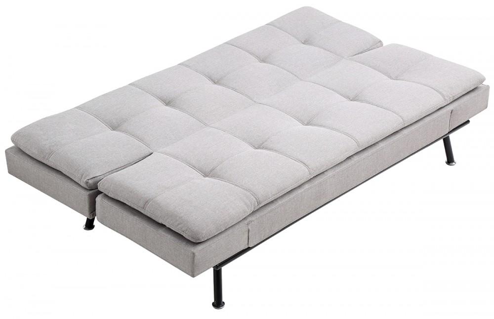 Canap lit scandinave tissu gris pi ce vivre for Lit scandinave