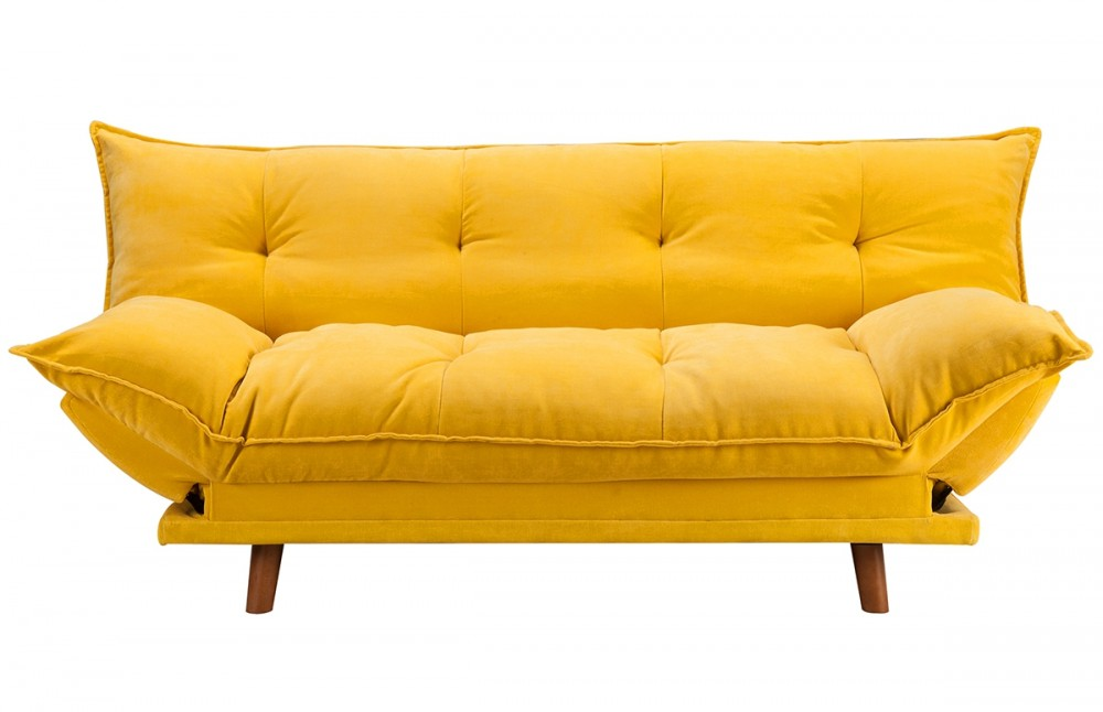 Banquette clic clac rembourree scandinave jaune piece a for Canapé convertible scandinave pour noël decoration magasin