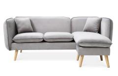 Canapé avec méridienne modulable en tissu gris clair