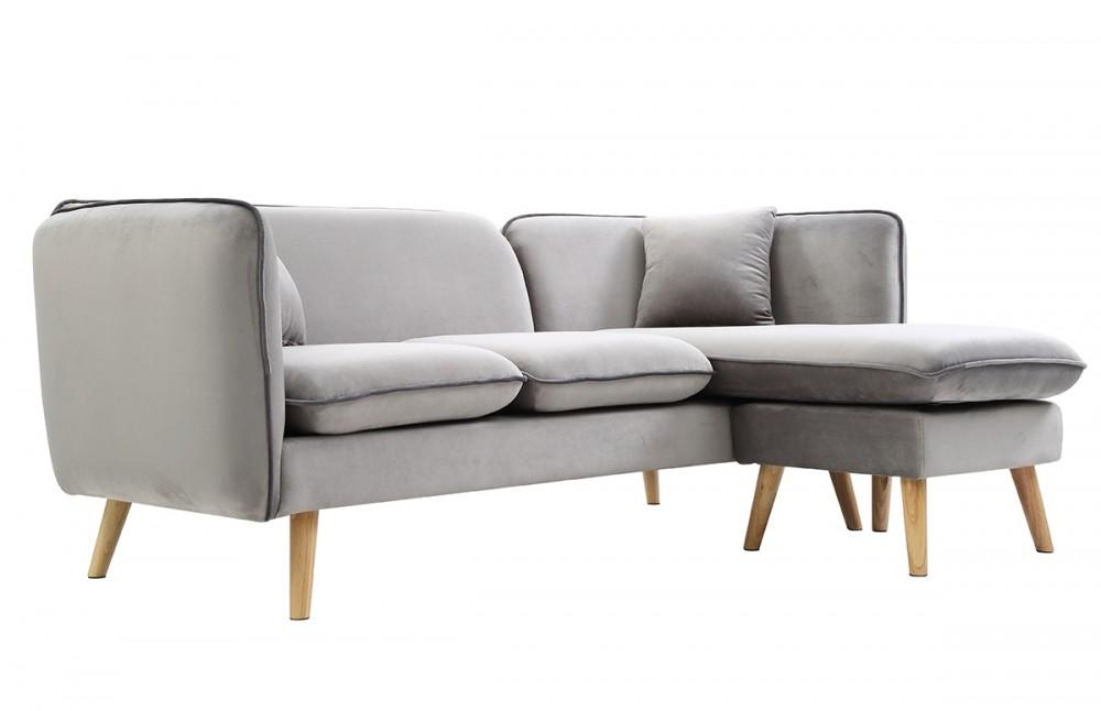 canap avec m ridienne modulable en tissu gris clair. Black Bedroom Furniture Sets. Home Design Ideas