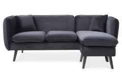 Canapé d'angle scandinave + pouf en tissu noir