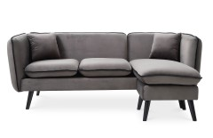 Canapé d'angle modulable scandinave en tissu gris