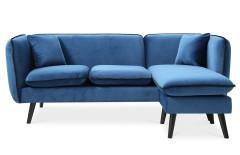 Canapé d'angle modulable  tissu bleu style scandinave