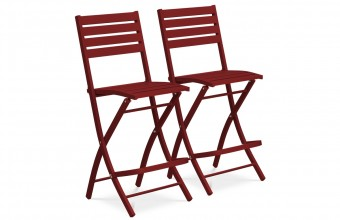 Lot de 2 chaises hautes de bar en aluminium ROUGE