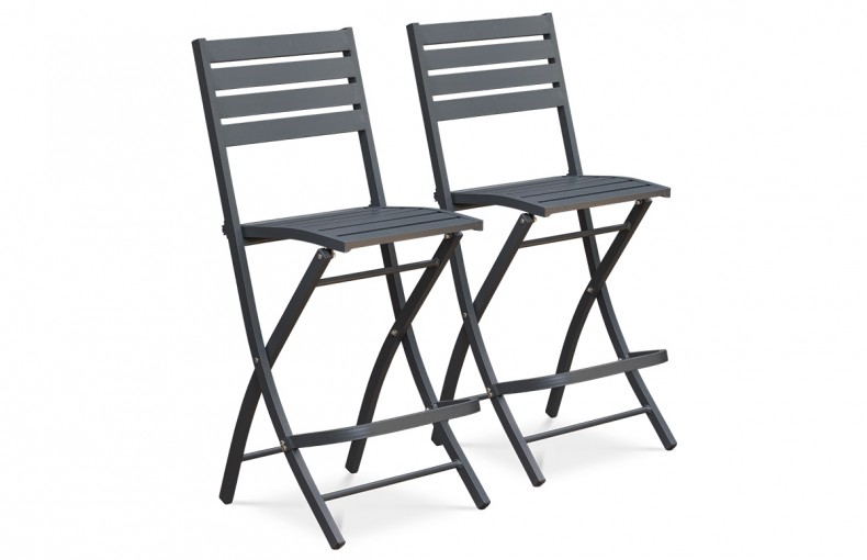 Lot de 2 chaises hautes de bar en aluminium ANTHRACITE