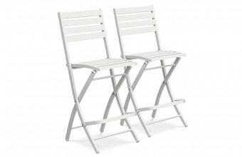 Lot de 2 chaises hautes de bar en aluminium GRIS