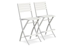 Lot de 2 chaises hautes de bar en aluminium GRIS