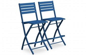 Lot de 2 chaises hautes de bar en aluminium BLEU
