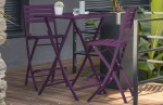 Lot de 2 chaises hautes de bar en aluminium AUBERGINE