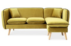 Canapé d'angle modulable tissu jaune moutarde