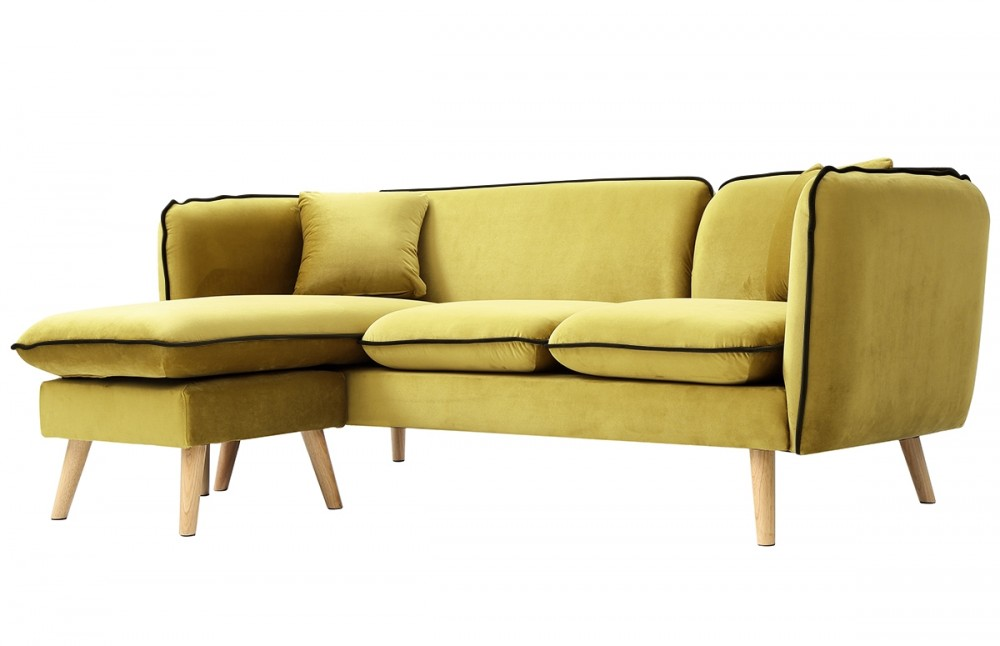 canap d 39 angle modulable tissu jaune moutarde pi ce vivre. Black Bedroom Furniture Sets. Home Design Ideas