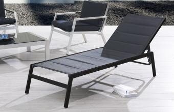 Chaise longue textilène noir