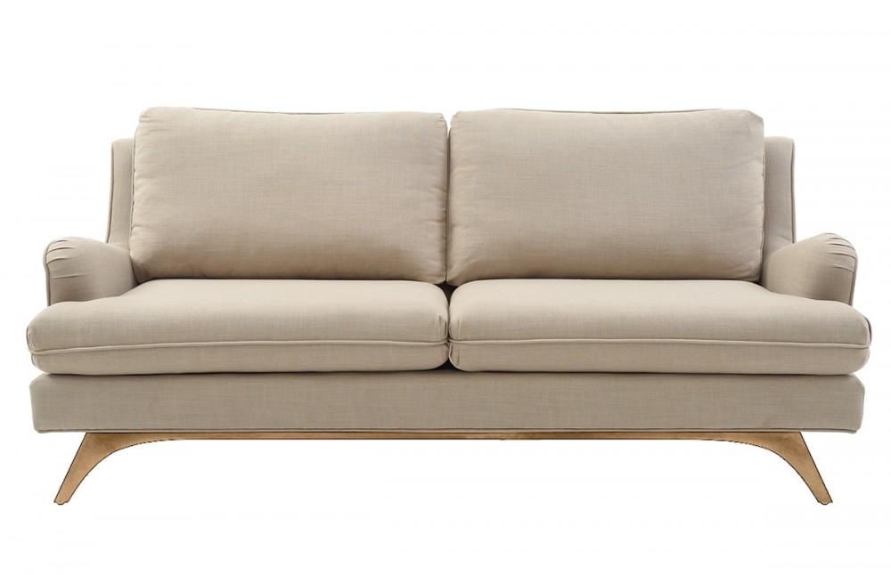 Canap 3 places en lin beige pi ce vivre - Canape moelleux 3 places ...