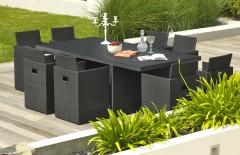 Salon de jardin noir encastrable 8 places plateau HPL