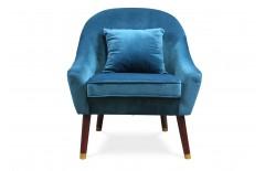 Fauteuil design en velours bleu canard effet brillant