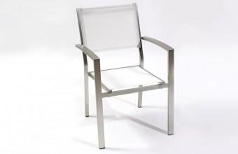 Fauteuil Aluminium et Textilène Blanc