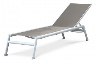 Chaise longue en textilène et aluminium