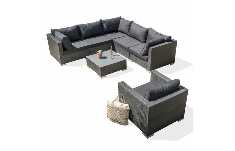 Salon ATHENA 6 places : 1 table basse + 2 chauffeuses + 3 angles + 1 fauteuil en TISSU EXTERIEUR – GRIS