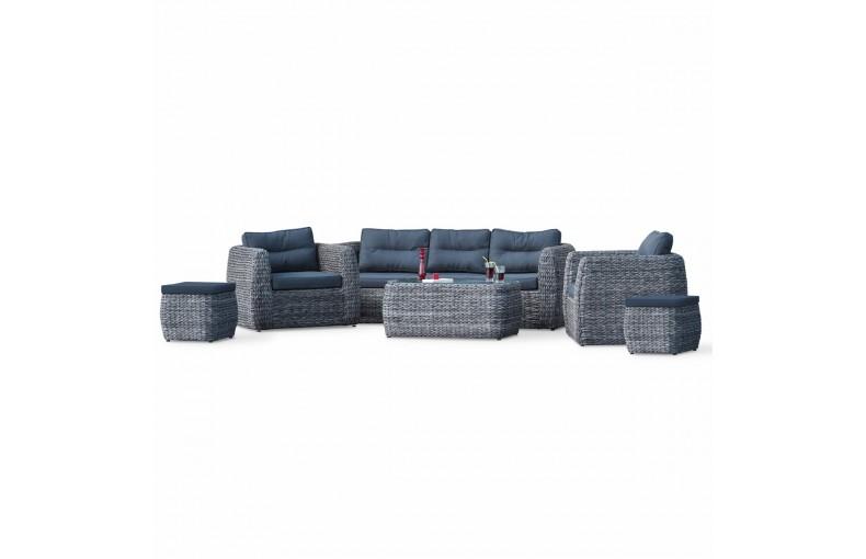 Salon BAHAMAS 7 places: 1 table basse + 1 canapé 3 places + 2 fauteuils + 2 poufs en résine tressée type bananier - GRIS