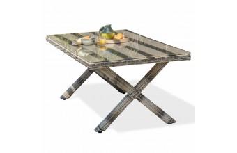 Table fixe BALI 200 x 100 cm en résine tressée - GRIS