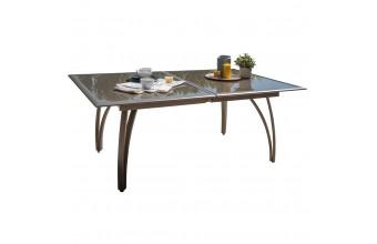Table 180/240 cm avec rallonge papillon, plateau verre et aluminium - CAPPUCCINO