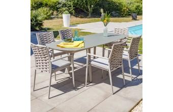 Set de jardin aluminium et verre 6 places, Cap Ferret