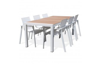 Salon jardin repas 6 fauteuils plateau céramique Helsinki