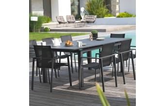Ensemble jardin table et 8 fauteuils Miami alu anthracite
