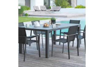 Table de jardin + 6 fauteuils aluminium