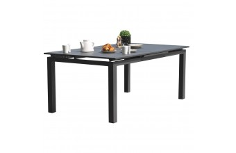 Table MIAMI 180/240X100 cm avec rallonge automatique, en aluminium - GRIS ANTHRACITE
