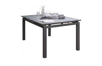 Table MIAMI-STONE 180/240X100 cm avec rallonge automatique, en verre SPRAY STONE et aluminium - GRIS ANTHRACITE