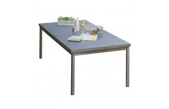 Table PALERMO 240/300x110cm plateau SPRAYSTONE et structure inox - GRIS