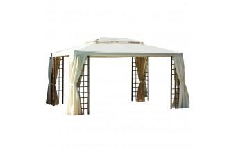 Tonnelle ROMA 4x3m en aluminium marron, munis de 4 rideaux polyester – ECRU