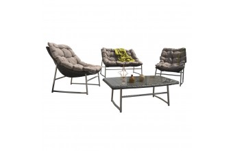 Salon SIDNEY 4 Places: 1 table basse + 1 canapé 2 places + 2 fauteuils résine tressée marron et inox - GRIS