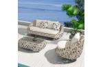 Salon Tanzania 5  places : 1 table basse + 2 fauteuils + 1 canapé 3 Places résie tressée GRIS