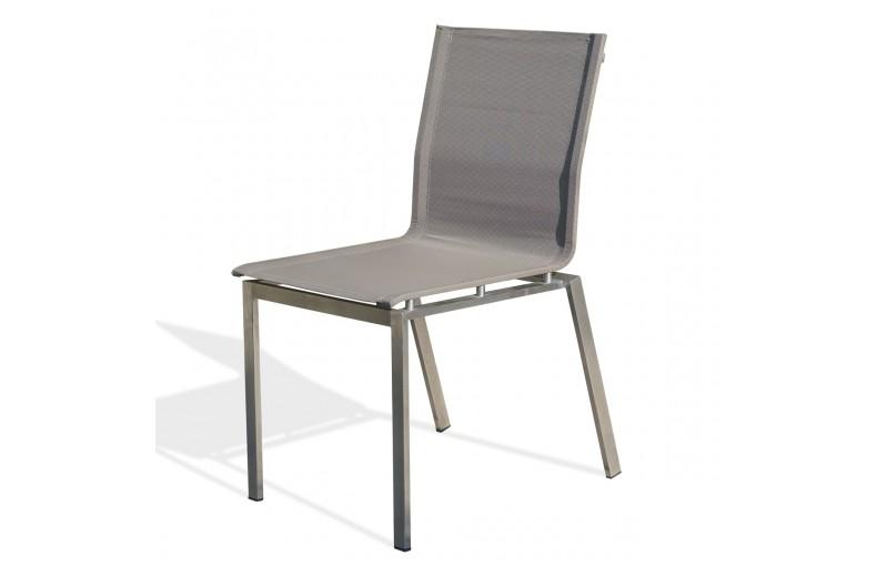 Chaise empilable TORINO en inox et textilène - TAUPE